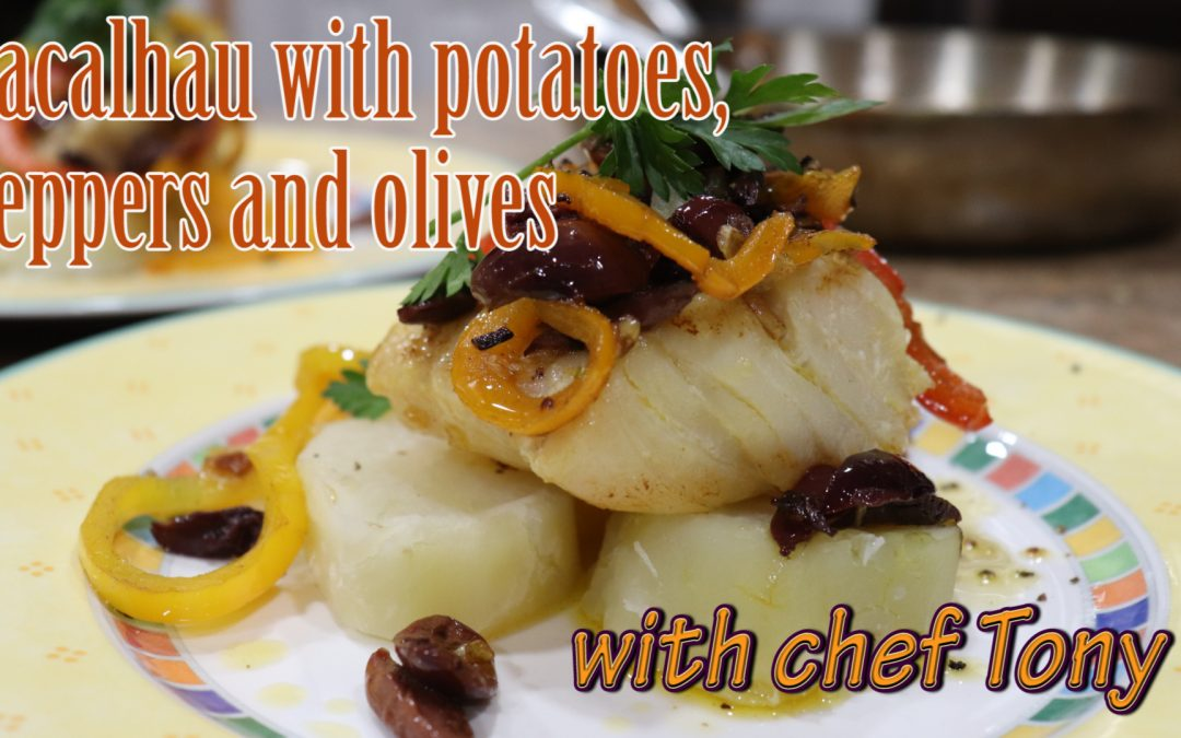 Bacalhau with potatoes, bell peppers, garlic and olives
