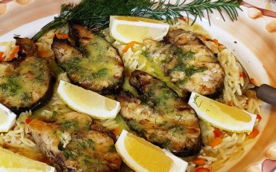 Grilled Rockfish with lemon and mustard Orzo