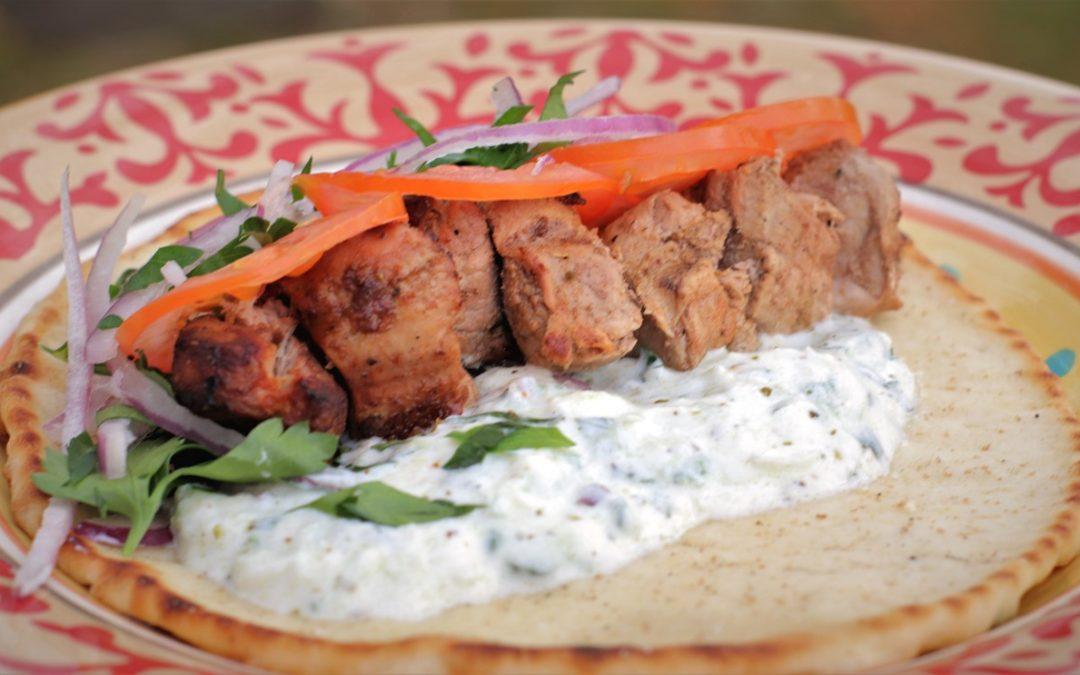 Pork Souvlaki, Pita-bread and Tzatziki
