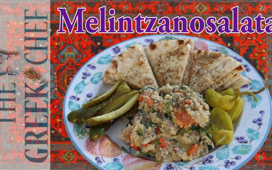 Melintzanosalata, eggplant salad with pita bread and zaatar